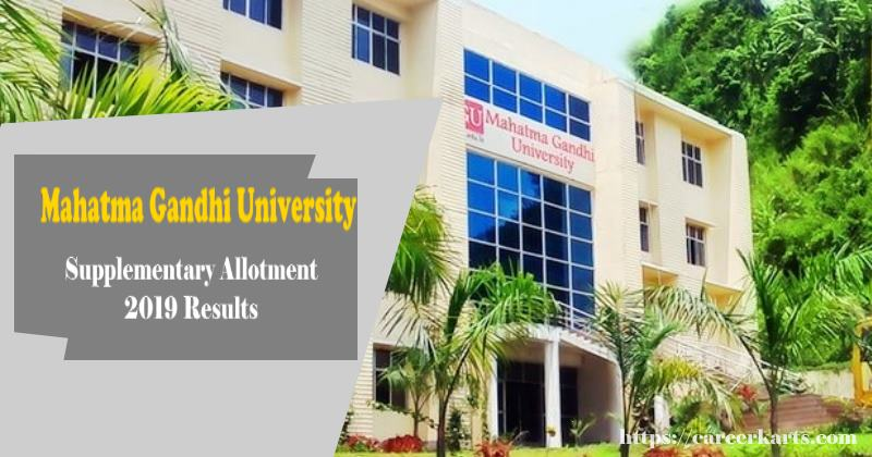 MG University Supplementary Allotment 2019 Results   Check
